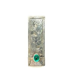 Antique 800 Silver Etched Lipstick Compact Green